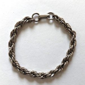 "Jewelry - Chunky Silver Tone Rope Chain Bracelet 8"" Long"